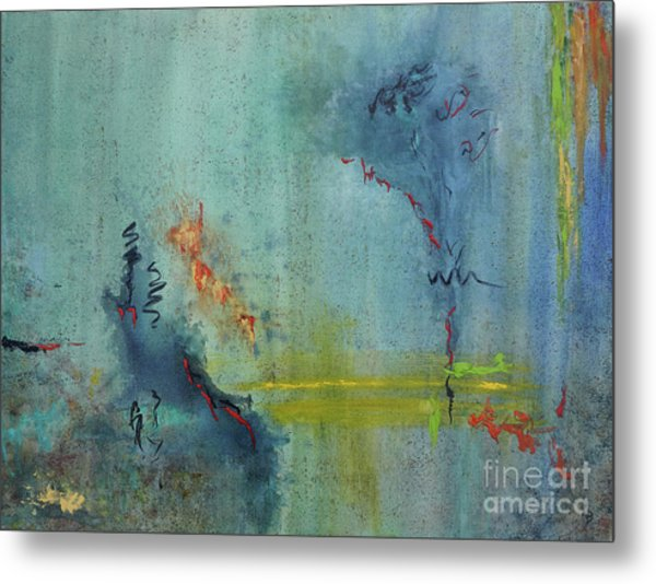 Metal Print featuring the painting Dreaming #2 by Karen Fleschler