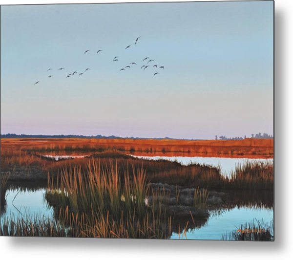 Dropping In - Teal Metal Print