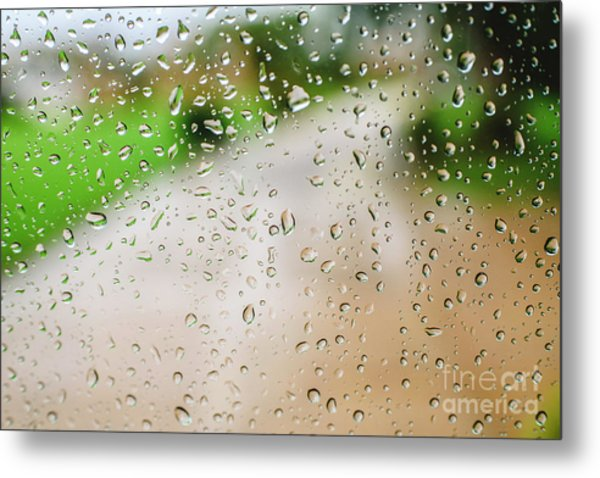 Drops Of Rain On An Autumn Day On A Glass. Metal Print