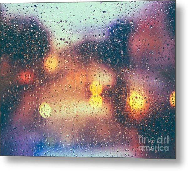 Drops Of Rain On Blue Glass Background Metal Print