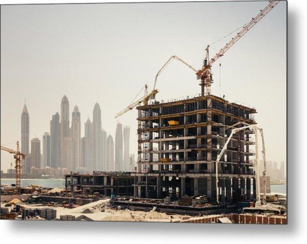 Dubai Construction Metal Print by Borchee
