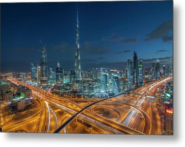 Dubai Downtown Area With Burj Khalifa Metal Print by Umar Shariff Photography