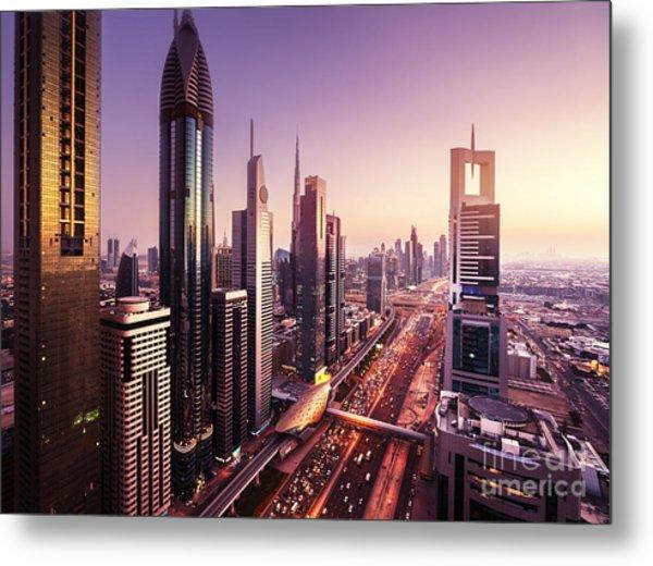 Dubai Skyline In Sunset Time, United Metal Print