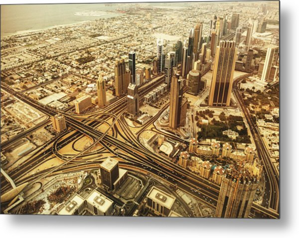 Dubai Skyline With Downtown Aerial View Metal Print by Franckreporter
