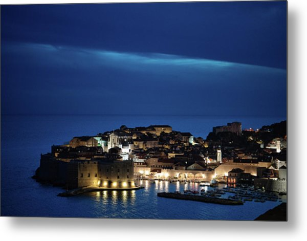 Dubrovnik Old Town At Night Metal Print