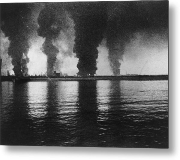 Dunkirk Fires Metal Print by Central Press