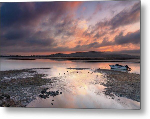 Dusky Pink Sunrise Bay Waterscape Metal Print