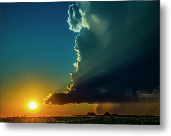 Dying Nebraska Thunderstorms At Sunset 068 Metal Print