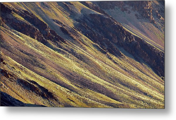 Metal Print featuring the photograph Early Morning Light On The Hillside In Sarchu by Whitney Goodey