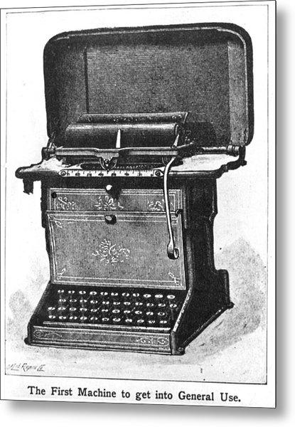 Early Typewriter Metal Print by Hulton Archive