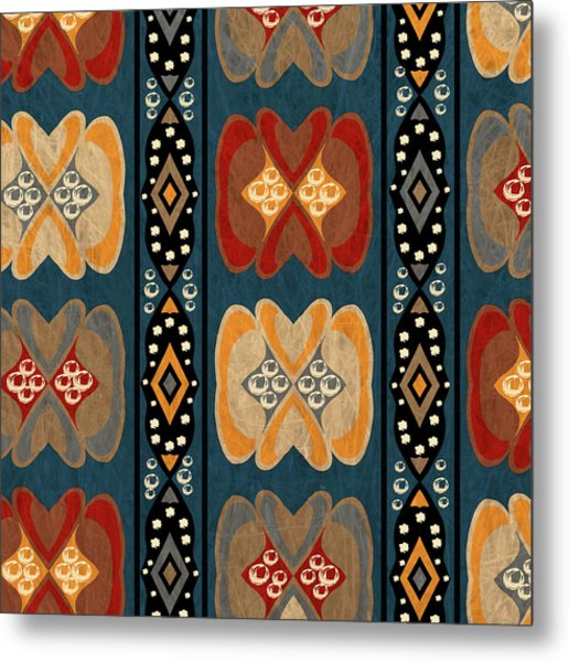 East African Heart And Diamond Stripe Pattern Metal Print