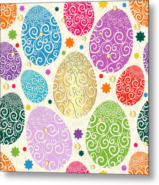 Easter Seamless Pattern With Colorful Metal Print