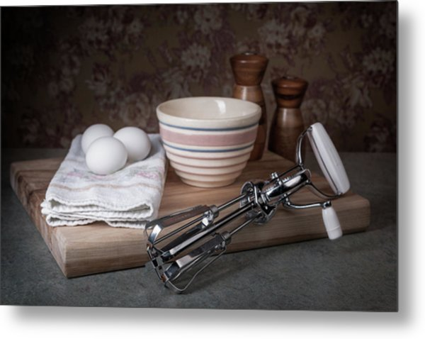 Eggbeater And Eggs Still Life Metal Print