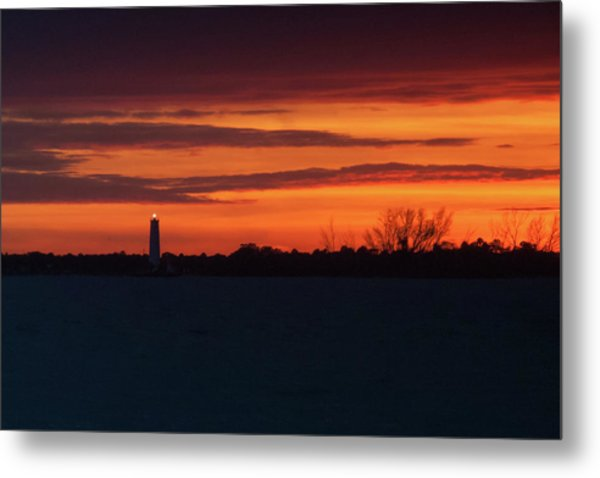 Egmont Key Lighthouse Sunset Metal Print