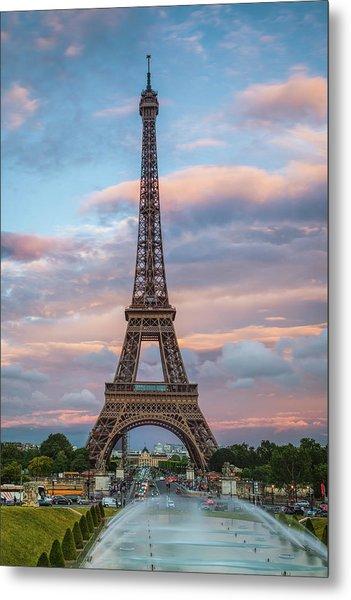 Eiffel At Sunset Metal Print