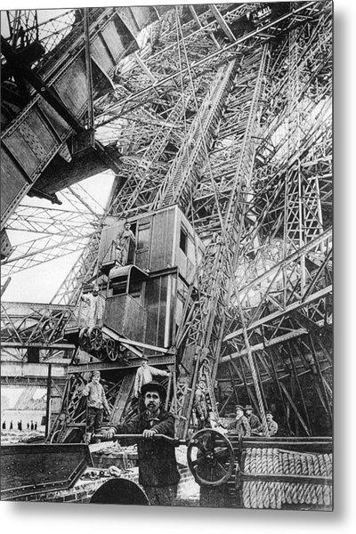 Eiffel Elevator Metal Print by Three Lions