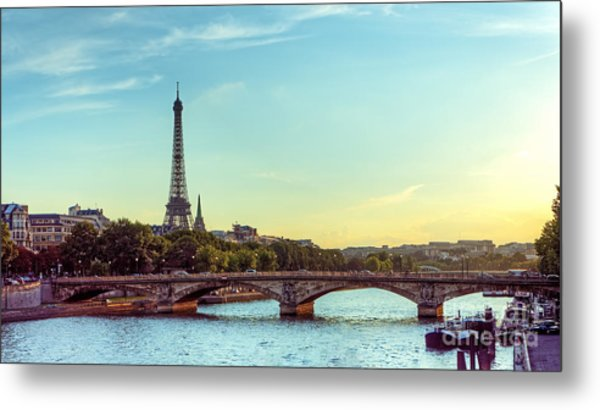 Eiffel Tower And Seine River Panoramic Metal Print