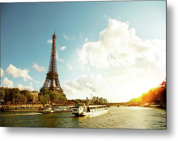 Eiffel Tower And The River Seine Metal Print by Vintagerobot