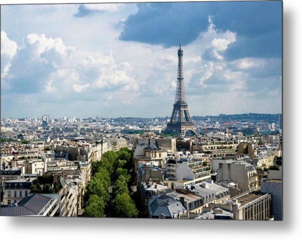 Eiffel Tower View From Arc De Triomphe Metal Print by Keith Sherwood