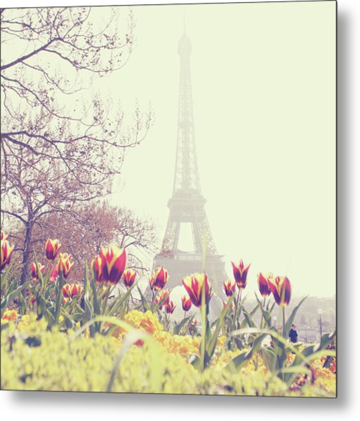 Eiffel Tower With Tulips Metal Print