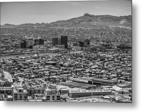 Metal Print featuring the photograph El Paso, Texas And Ciudad Juarez Skyline Black And White by Chance Kafka