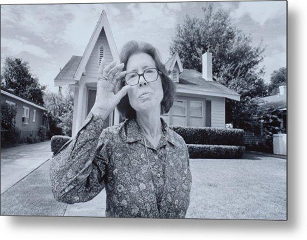 Elderly Woman Touches Glasses Metal Print
