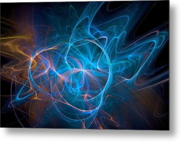 Electric Universe Blue Metal Print