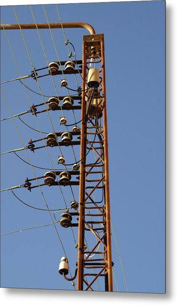 Electric Wires Pole Metal Print