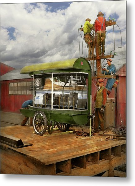 Metal Print featuring the photograph Electrician - Linemen - Installing Search Lights 1929 by Mike Savad