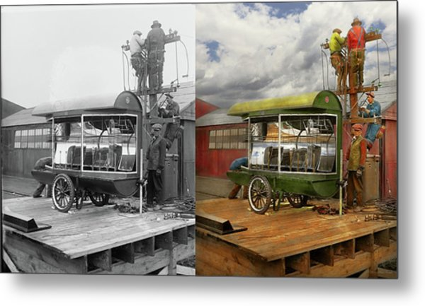 Metal Print featuring the photograph Electrician - Linemen - Installing Search Lights 1929 - Side By Side by Mike Savad