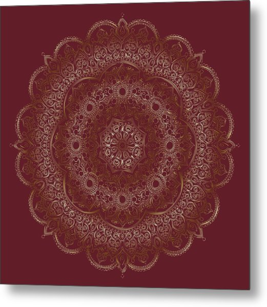 Metal Print featuring the painting Elegant Golden Mandala Buddhist Symbol by Georgeta Blanaru