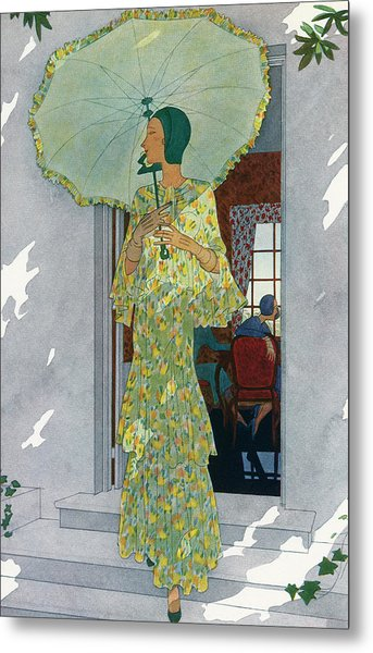 Elegant Woman With A Parasol Metal Print by Graphicaartis