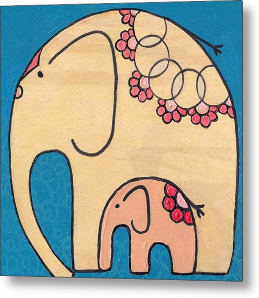 Elephant And Child On Blue Metal Print