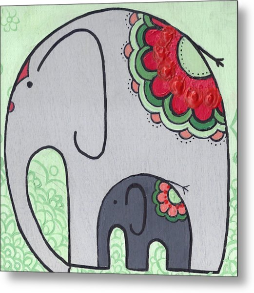 Elephant And Child On Green Metal Print