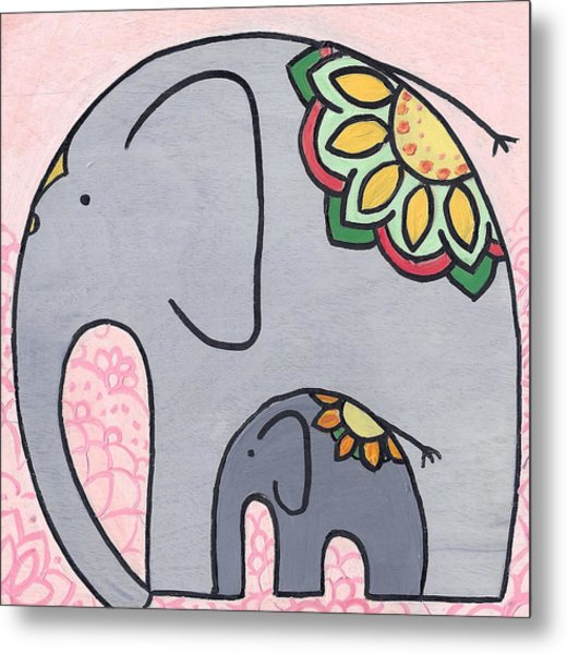 Elephant And Child On Pink Metal Print