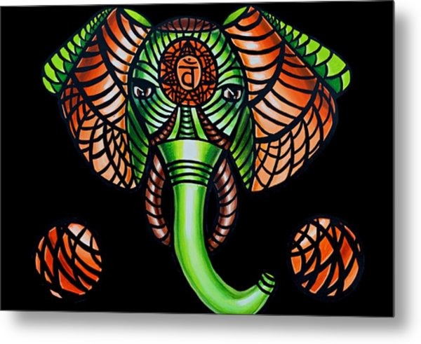 Elephant Head Painting Sacral Chakra Art Zentangle Elephant African Tribal Artwork Metal Print