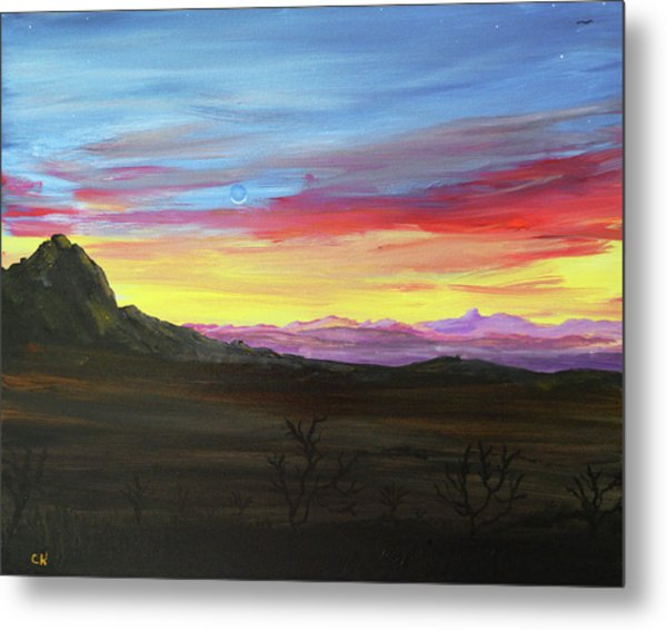 Metal Print featuring the painting Elephant Head Twilight  by Chance Kafka