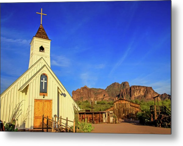 Elvis Chapel At Apacheland, Superstition Mountains Metal Print