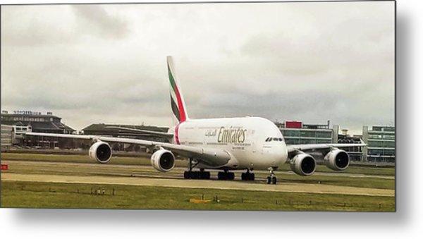 Emirates Airbus A380-800 At London Heathrow Airport Metal Print