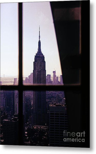 Empire State Building Window View  Metal Print