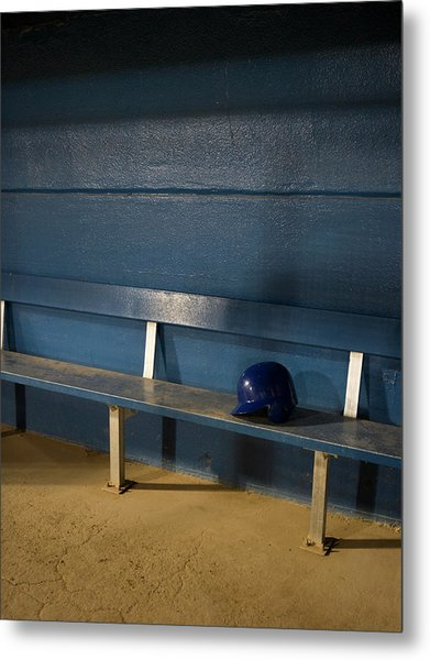 Empty Baseball Dugout With Helmet By Whit Preston