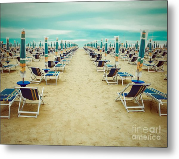 Empty Beach Scenery With Deckchairs And Metal Print by Anastazzo