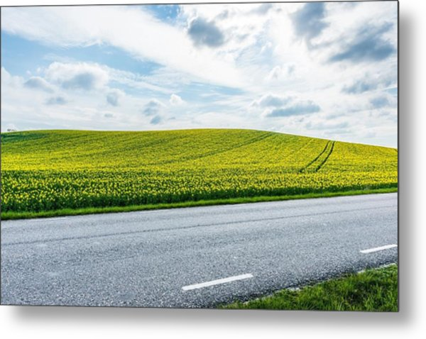 Empty Country Road Along Landscape Metal Print by Jimmy Nilsson / Eyeem