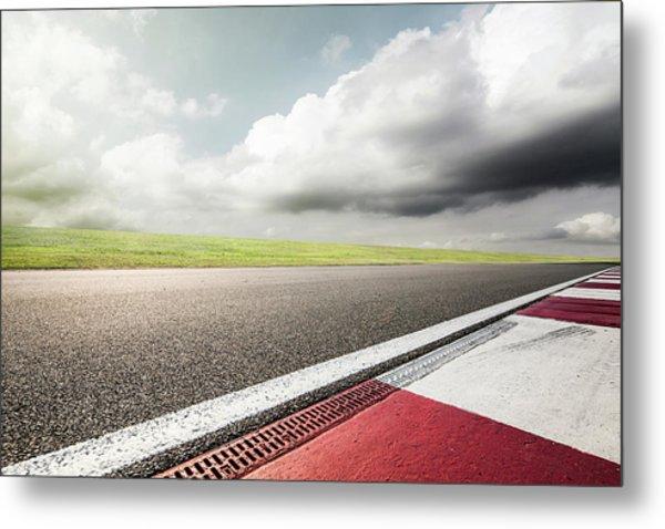 Empty Motor Racing Track Metal Print by Yubo