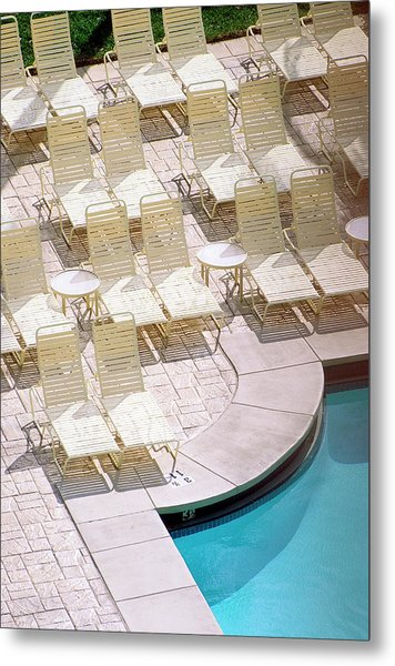 Empty Poolside Chairs At A Holiday Metal Print by Wesley Hitt