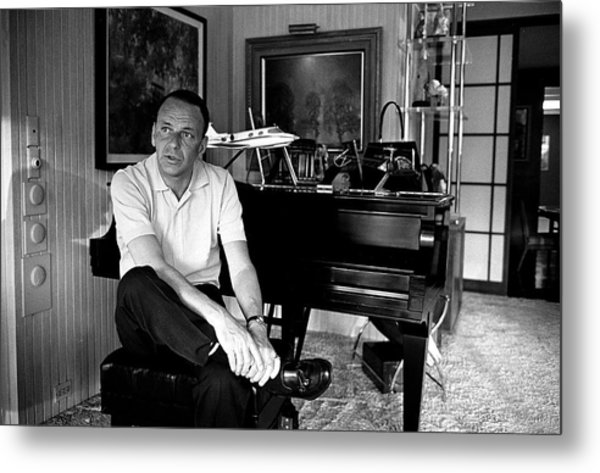 Entertainer Frank Sinatra Sitting On Metal Print by John Dominis