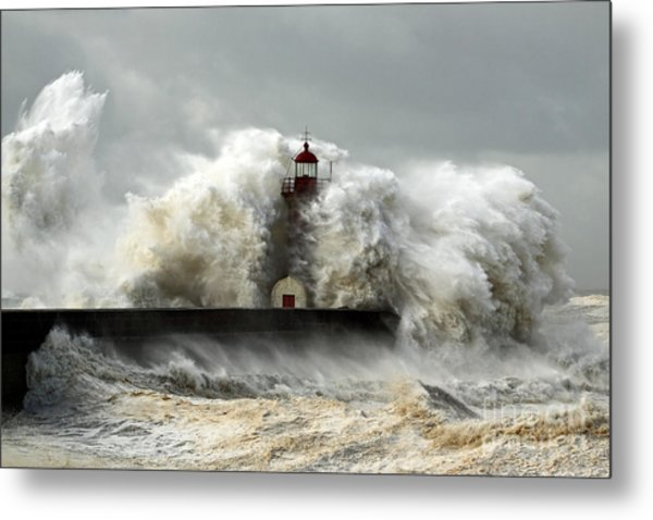 Entry Of Douro River Harbor On The Metal Print