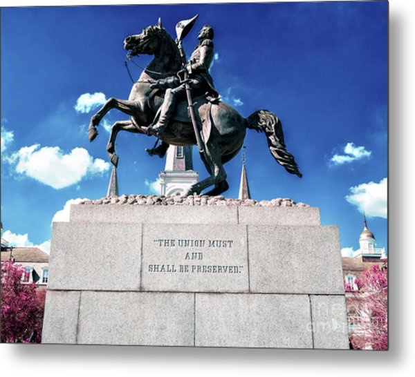 Equestrian Statue Of Andrew Jackson In New Orleans Metal Print by John Rizzuto