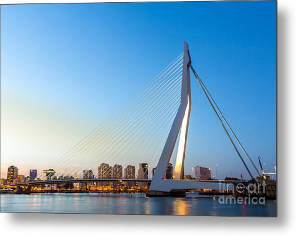 Erasmus Bridge Over The River Meuse In Metal Print