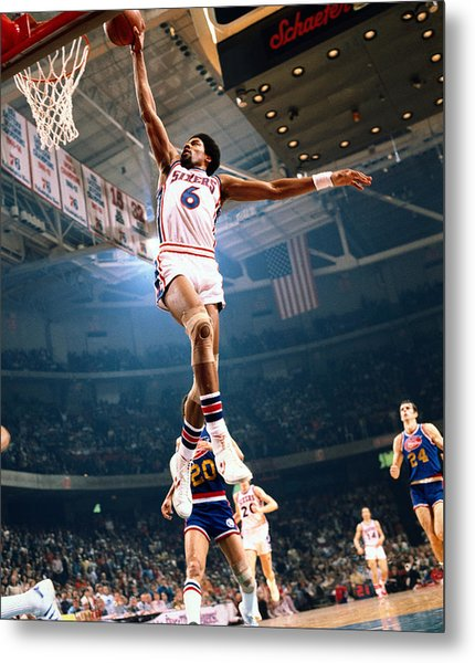 Erving Goes For A Dunk Metal Print